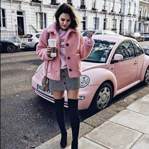 NEW Topshop Pink Borg Jacket -Teddy Coat- Faux Fur